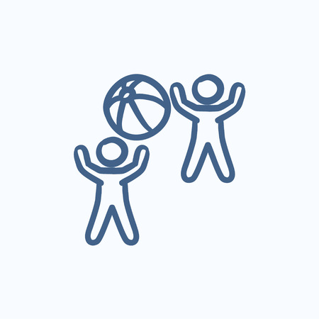 inflatable ball: Children playing with inflatable ball vector sketch icon isolated on background. Hand drawn Children playing with ball icon. Children playing with ball sketch icon for infographic, website or app. Illustration