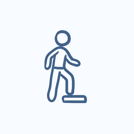 Man doing step exercise vector sketch icon isolated on background. Hand drawn Man doing step exercise icon. Man doing step exercise sketch icon for infographic, website or app. Иллюстрация