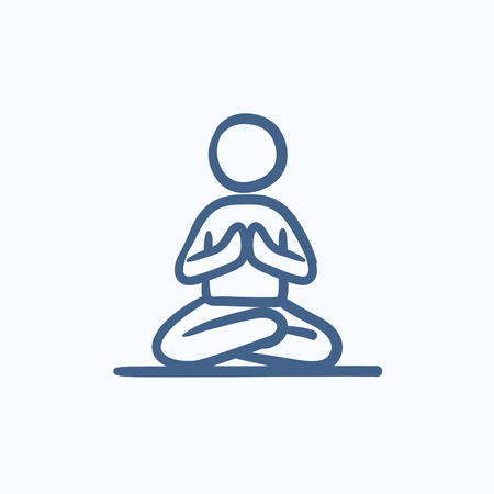 ardha: A man meditating in lotus pose vector sketch icon isolated on background. Hand drawn man meditating in lotus pose icon. Man meditating in lotus pose sketch icon for infographic, website or app. Illustration