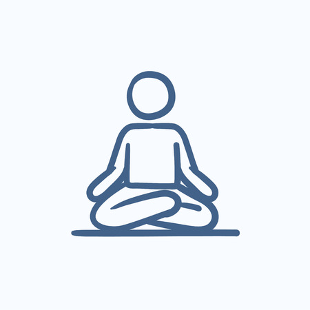 distension: A man meditating in lotus pose vector sketch icon isolated on background. Hand drawn man meditating in lotus pose icon. Man meditating in lotus pose sketch icon for infographic, website or app. Illustration