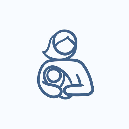 Woman holding baby vector sketch icon isolated on background. Hand drawn Woman holding baby icon. Woman holding baby sketch icon for infographic, website or app. Vektoros illusztráció