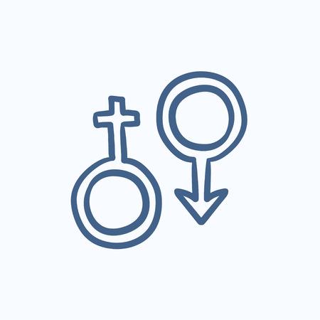 Männliche und weibliche Symbol Vektor Skizze Symbol auf Hintergrund isoliert. Hand Männliche und weibliche Symbol Symbol gezeichnet. Männliche und weibliche Symbol Skizze Symbol für Infografik, die Website oder App. Standard-Bild - 59071218