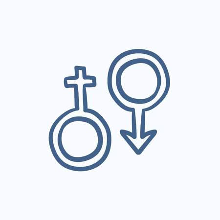 symbol: Male and female symbol vector sketch icon isolated on background. Hand drawn Male and female symbol icon. Male and female symbol sketch icon for infographic, website or app.