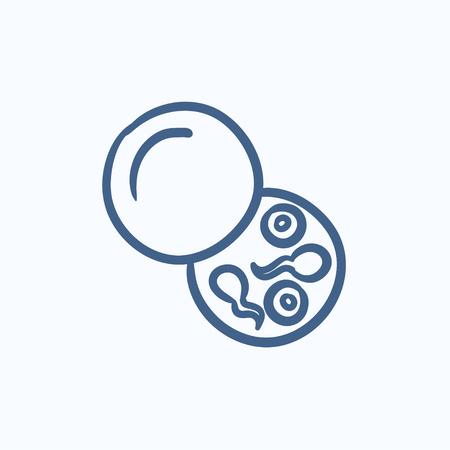 espermatozoides: Donante de esperma dibujo icono del vector aislado en el fondo. icono de donante de esperma dibujado a mano. Donantes de esperma dibujo icono de infografía, sitio web o aplicación.