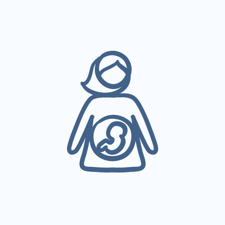 mother and baby: Baby fetus in mother womb vector sketch icon isolated on background. Hand drawn Baby fetus in mother womb icon. Baby fetus in mother womb sketch icon for infographic, website or app. Illustration