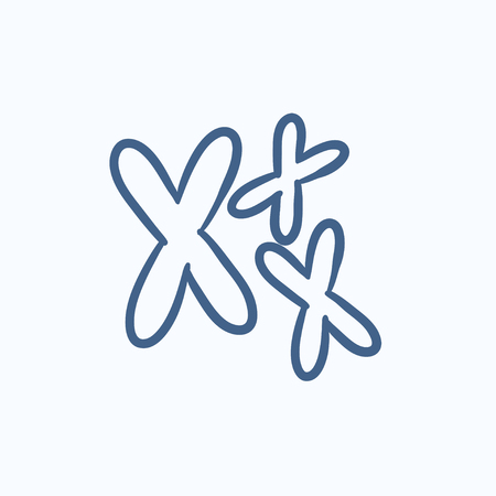 chromosomes: Chromosomes vector sketch icon isolated on background. Hand drawn Chromosomes icon. Chromosomes sketch icon for infographic, website or app.