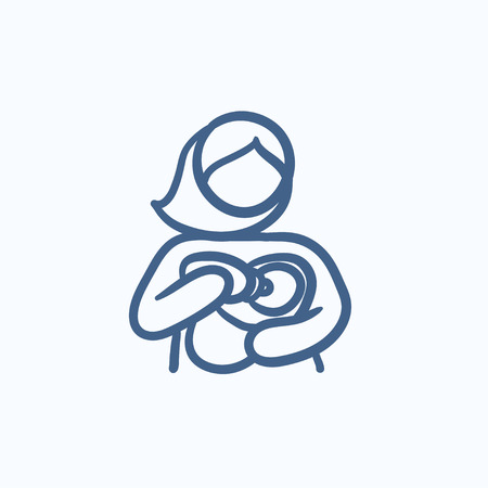 nursing baby: Woman nursing baby vector sketch icon isolated on background. Hand drawn Woman nursing baby icon. Woman nursing baby sketch icon for infographic, website or app.