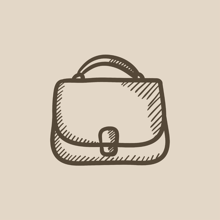 clasp: Female handbag sketch icon for web, mobile and infographics. Hand drawn female handbag icon. Female handbag vector icon. Female handbag icon isolated on white background. Illustration