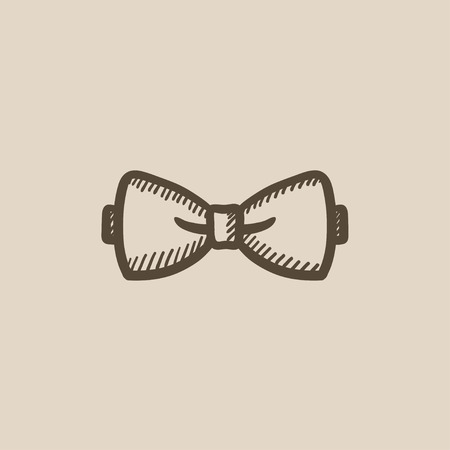 official wear: Bow tie sketch icon for web, mobile and infographics. Hand drawn bow tie icon. Bow tie vector icon. Bow tie icon isolated on white background.