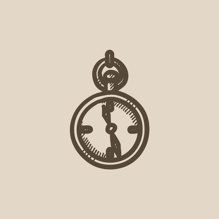 Pocket watch sketch icon for web, mobile and infographics. Hand drawn Pocket watch icon. Pocket watch vector icon. Pocket watch icon isolated on white background.