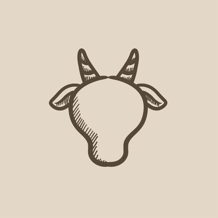 cow head: Cow head sketch icon for web, mobile and infographics. Hand drawn cow head icon. Cow head vector icon. Cow head icon isolated on white background. Illustration