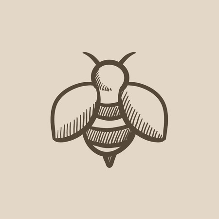 Bee sketch icon for web, mobile and infographics. Hand drawn bee icon. Bee vector icon. Bee icon isolated on white background. Illustration