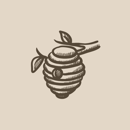 Bee hive sketch icon for web, mobile and infographics. Hand drawn bee hive icon. Bee hive vector icon. Bee hive icon isolated on white background.