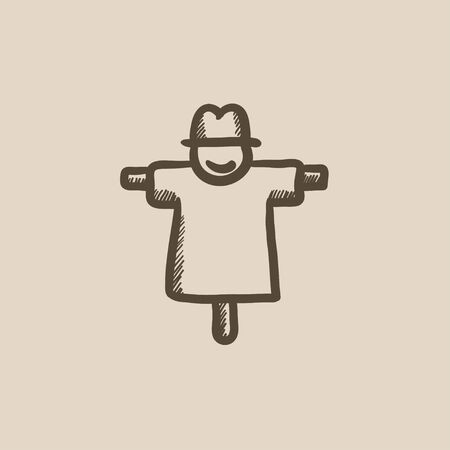 horrific: Scarecrow vector sketch icon isolated on background. Hand drawn Scarecrow icon. Scarecrow sketch icon for infographic, website or app.