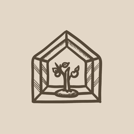 greenhouse: Greenhouse vector sketch icon isolated on background. Hand drawn Greenhouse icon. Greenhouse sketch icon for infographic, website or app.