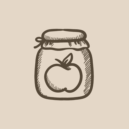 jam jar: Apple jam jar vector sketch icon isolated on background. Hand drawn Apple jam jar icon. Apple jam jar sketch icon for infographic, website or app.