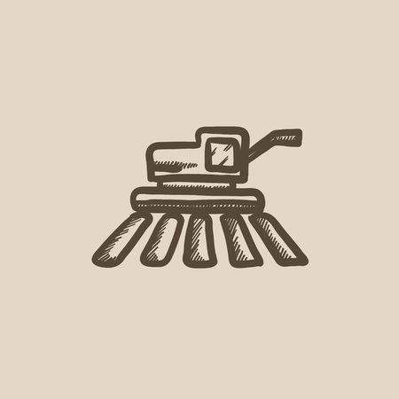 combine harvester: Combine harvester vector sketch icon isolated on background. Hand drawn Combine harvester icon. Combine harvester sketch icon for infographic, website or app. Illustration
