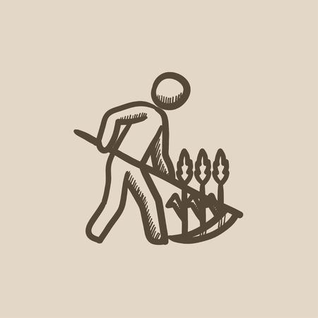 guadaña: Hierba de siega del hombre con la guadaña dibujo icono del vector aislado en el fondo. La mano del hombre dibujado la siega de hierba con el icono de la guadaña. Hierba de siega del hombre con dibujo icono de la guadaña de infografía, sitio web o aplicación.