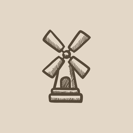 spinning windmill: Windmill  vector sketch icon isolated on background. Hand drawn Windmill  icon. Windmill  sketch icon for infographic, website or app.