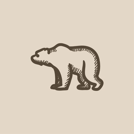 waddling: Bear vector sketch icon isolated on background. Hand drawn Bear icon. Bear sketch icon for infographic, website or app.