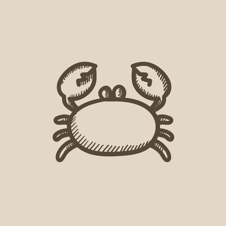 Crab vector sketch icon isolated on background. Hand drawn Crab icon. Crab sketch icon for infographic, website or app. 向量圖像