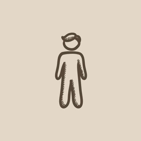 fullbody: Businessman standing vector sketch icon isolated on background. Hand drawn Businessman standing icon. Businessman standing sketch icon for infographic, website or app. Illustration