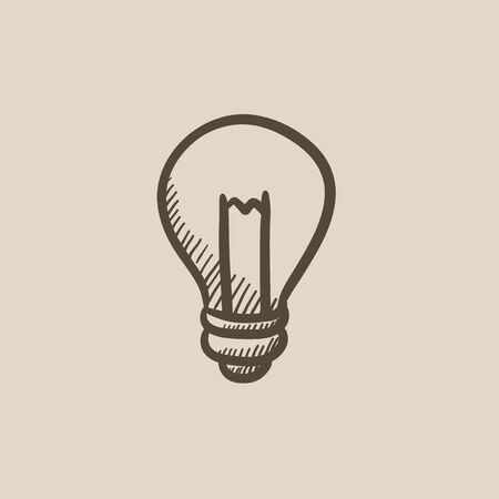 invent clever: Lightbulb vector sketch icon isolated on background. Hand drawn Lightbulb icon. Lightbulb sketch icon for infographic, website or app.