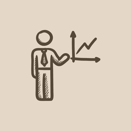 report icon: Business report vector sketch icon isolated on background. Hand drawn Business report icon. Business report sketch icon for infographic, website or app.