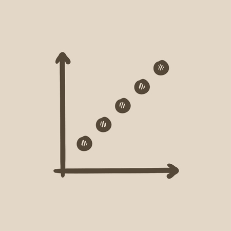 upward movements: Growth graph vector sketch icon isolated on background. Hand drawn Growth graph icon. Growth graph sketch icon for infographic, website or app.