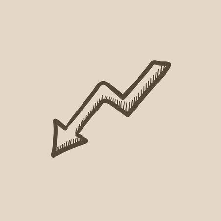 downward: Arrow downward vector sketch icon isolated on background. Hand drawn Arrow downward icon. Arrow downward sketch icon for infographic, website or app.