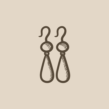 earrings: Pair of earrings vector sketch icon isolated on background. Hand drawn Pair of earrings icon. Pair of earrings sketch icon for infographic, website or app.