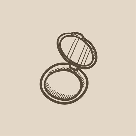 Powder box Vektor-Skizze-Symbol auf Hintergrund isoliert. Hand gezeichnet Powder Box-Symbol. Powder Box Skizze Symbol für Infografik, die Website oder App. Standard-Bild - 59269915