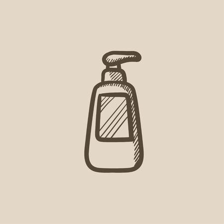 ディスペンサー ポンプ ベクター スケッチ アイコンの背景に分離された形の瓶。手には、ディスペンサー ポンプ アイコンでボトルが描画されます