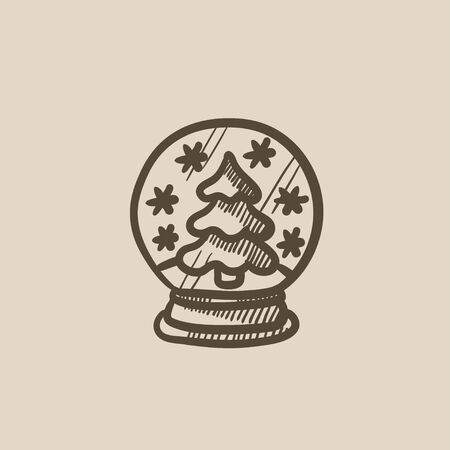 snow globe: Snow globe with christmas tree vector sketch icon isolated on background. Hand drawn Snow globe with christmas tree icon. Snow globe with christmas tree sketch icon for infographic, website or app. Illustration