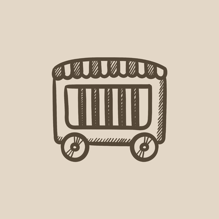 grille: Circus wagon vector sketch icon isolated on background. Hand drawn Circus wagon icon. Circus wagon sketch icon for infographic, website or app.