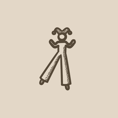 stilt: Clown on stilts vector sketch icon isolated on background. Hand drawn Clown on stilts icon. Clown on stilts sketch icon for infographic, website or app.