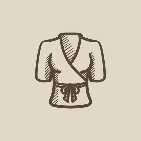 bathrobe: Short female bathrobe vector sketch icon isolated on background. Hand drawn Short female bathrobe icon. Short female bathrobe sketch icon for infographic, website or app. Illustration