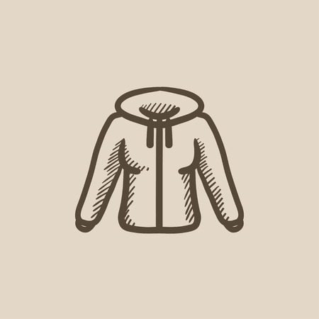 hoody: Hoodie vector sketch icon isolated on background. Hand drawn Hoodie icon. Hoodie sketch icon for infographic, website or app.