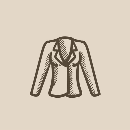 habiliment: Jacket vector sketch icon isolated on background. Hand drawn Jacket icon. Jacket sketch icon for infographic, website or app. Illustration
