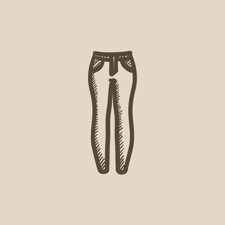 Female jeans vector sketch icon isolated on background. Hand drawn Female jeans icon. Female jeans sketch icon for infographic, website or app. Illustration