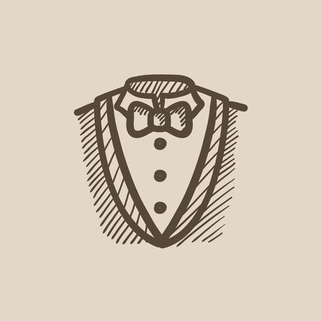 남성 정장 벡터 스케치 아이콘 배경에 고립. 손으로 그려진 된 남성 양복 아이콘입니다. infographic, 웹 사이트 또는 응용 프로그램에 대한 남성 정장 스