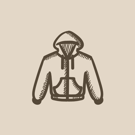 hooded sweatshirt: Hoodie vector sketch icon isolated on background. Hand drawn Hoodie icon. Hoodie sketch icon for infographic, website or app.