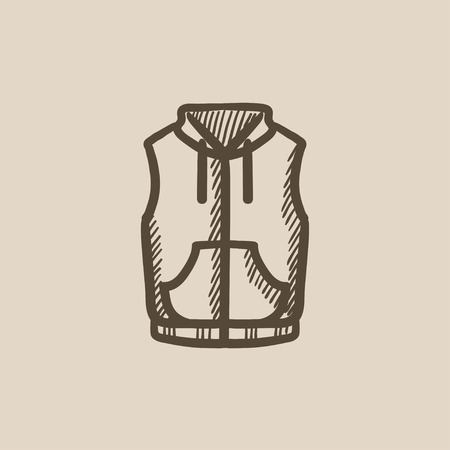 Vest down jacket vector sketch icon isolated on background. Hand drawn Vest down jacket icon. Vest down jacket sketch icon for infographic, website or app. 矢量图像