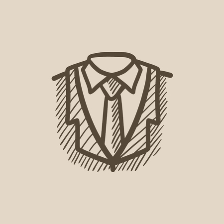 formalwear: Male suit vector sketch icon isolated on background. Hand drawn Male suit icon. Male suit sketch icon for infographic, website or app.
