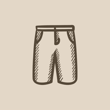 Male shorts vector sketch icon isolated on background. Hand drawn Male shorts icon. Male shorts sketch icon for infographic, website or app. Ilustração