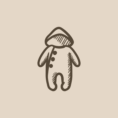 Baby rompers vector sketch icon isolated on background. Hand drawn Baby rompers icon. Baby rompers sketch icon for infographic, website or app. Illustration