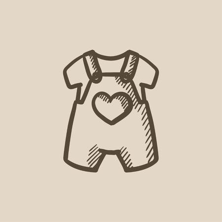 overol: Beb� icono de un mono y una camisa del bosquejo del vector aislado en el fondo. Dibujado a mano guardapolvos del beb� y el icono de la camisa. Beb� icono de un mono y camiseta para boceto infograf�a, sitio web o aplicaci�n.