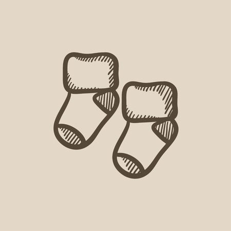hosiery: Baby socks vector sketch icon isolated on background. Hand drawn Baby socks icon. Baby socks sketch icon for infographic, website or app. Illustration