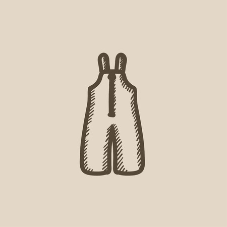 suspender: Baby winter overalls vector sketch icon isolated on background. Hand drawn Baby winter overalls icon. Baby winter overalls sketch icon for infographic, website or app. Illustration