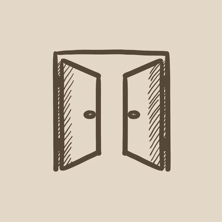 puertas abiertas dibujo icono del vector aislado en el fondo. Dibujado a mano icono de puertas abiertas. puertas abiertas icono boceto de infografía, web o aplicación.